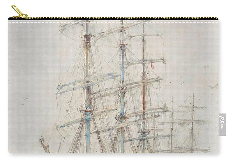 Henry Scott Tuke Windjammers At Anchor Carry-all Pouch featuring the painting Henry Scott Tuke Windjammers At Anchor, 1921 by Adam Asar