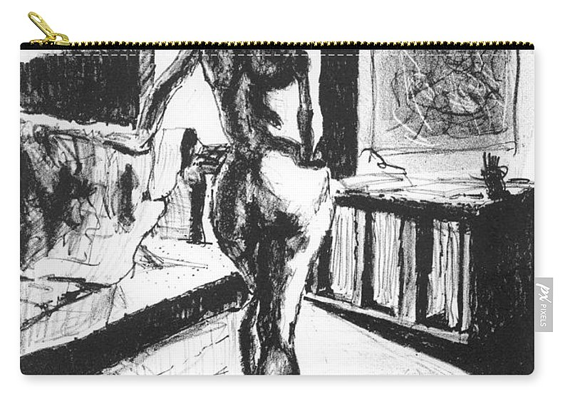 Lithograph Carry-all Pouch featuring the mixed media Her Back by Ron Bissett