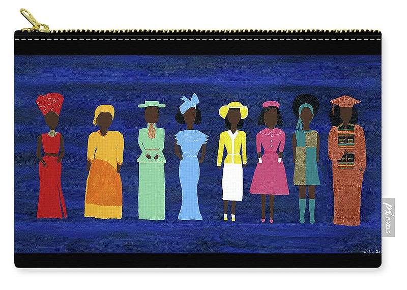 Black Carry-all Pouch featuring the painting Her Legacy II by Kafia Haile