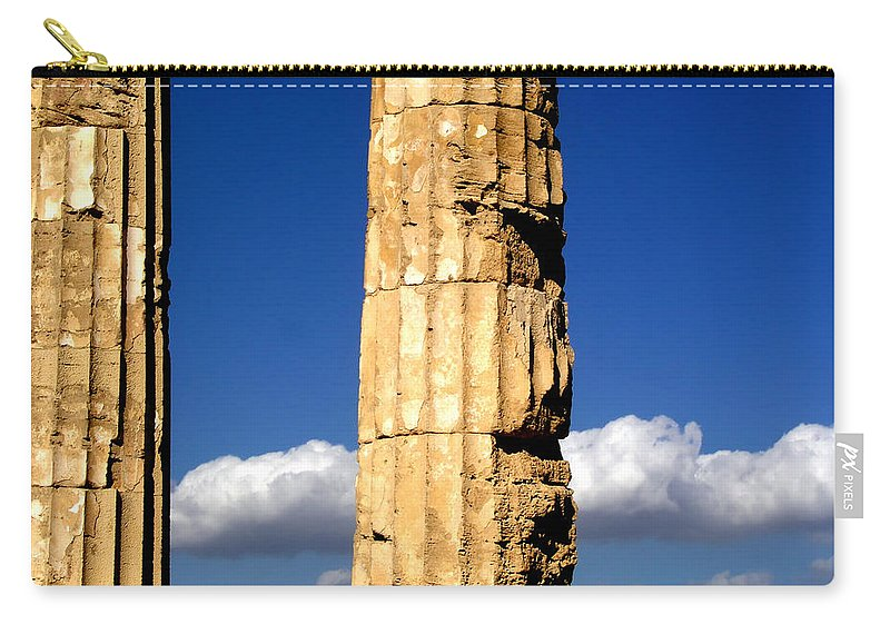 Cloud Carry-all Pouch featuring the photograph Hera Temple - Selinunte - Sicily by Silvia Ganora