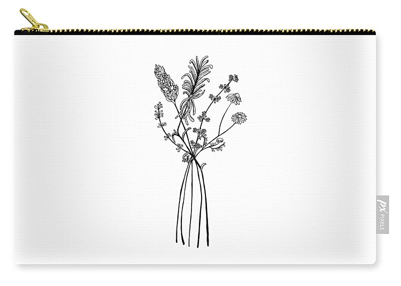 Hamomile Carry-all Pouch featuring the drawing Herb Bouquet 2 by Jessica Mileur