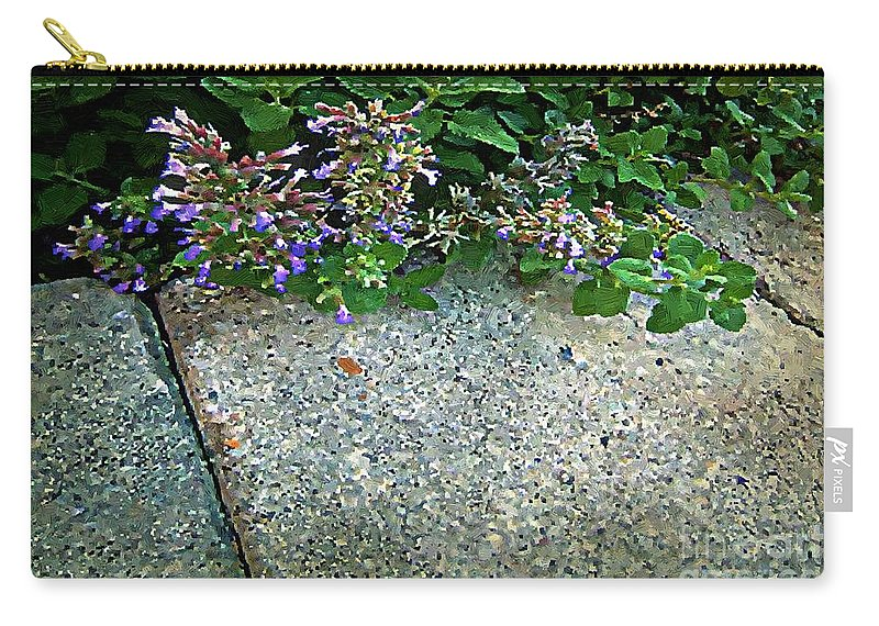 Flowers Carry-all Pouch featuring the painting Herb Garden Walkway by RC DeWinter