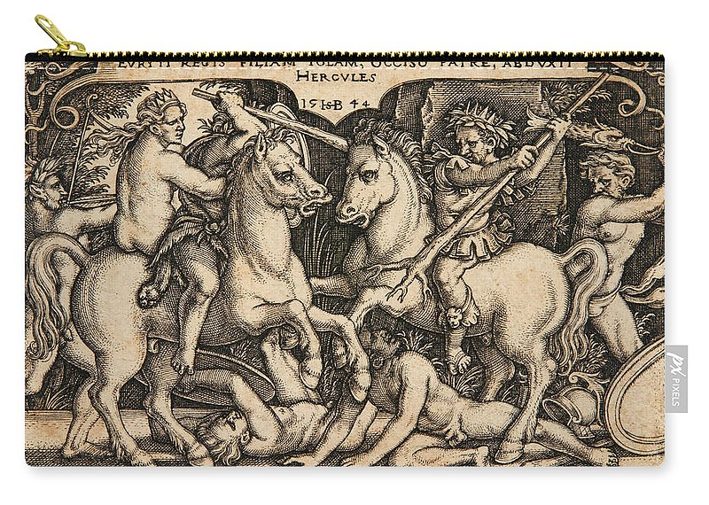 Sebald Beham Carry-all Pouch featuring the drawing Hercules Abducting Iole Having Slain Her Father King Eurytus by Sebald Beham