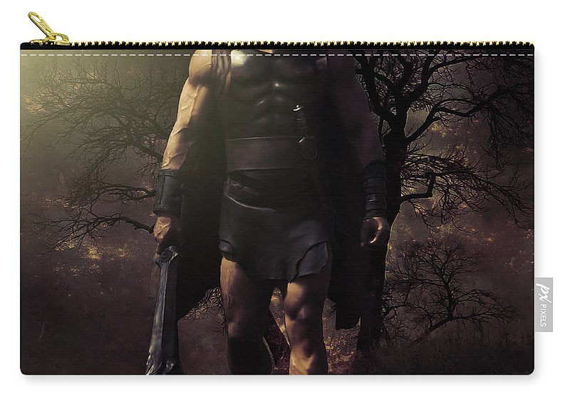 Painting Carry-all Pouch featuring the digital art Hercules by Davandra Cribbie