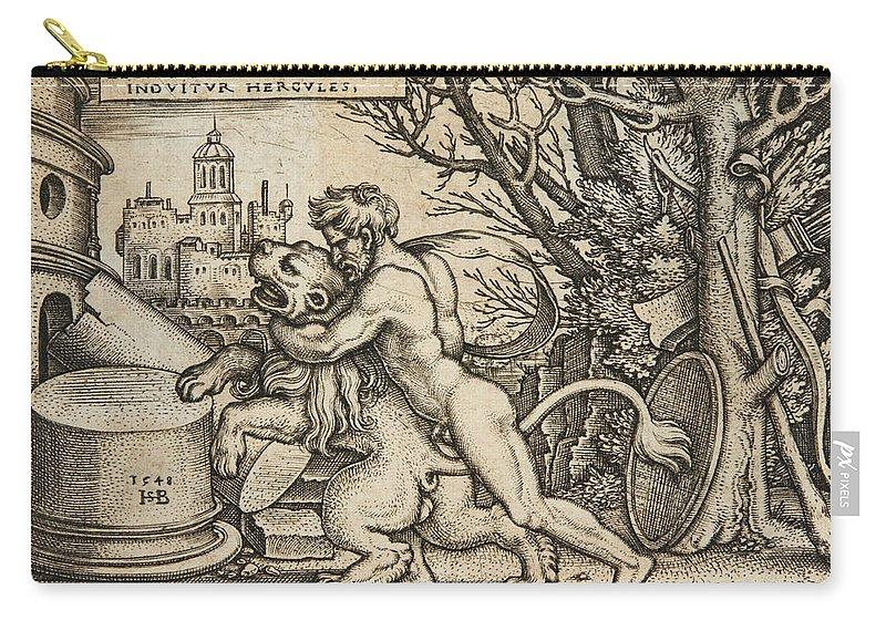 Sebald Beham Carry-all Pouch featuring the drawing Hercules Killing The Nemean Lion by Sebald Beham