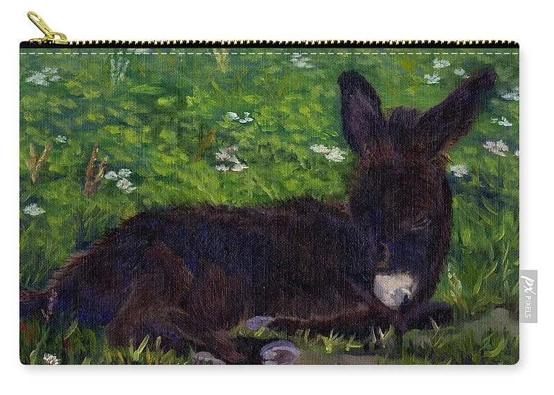 Donkey Carry-all Pouch featuring the painting Hercules by Sharon E Allen