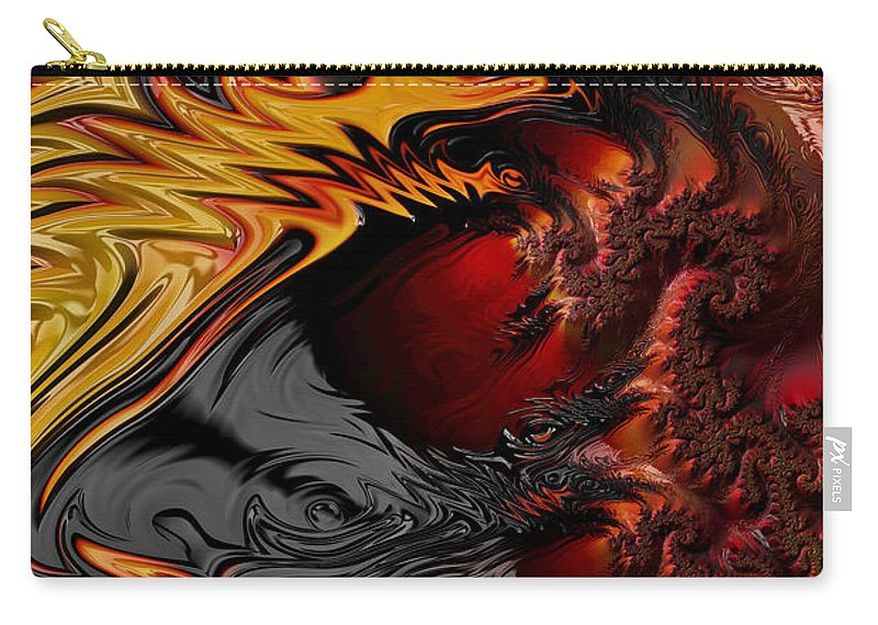 Fractal Dragons Carry-all Pouch featuring the digital art Here Be Dragons by Ann Garrett