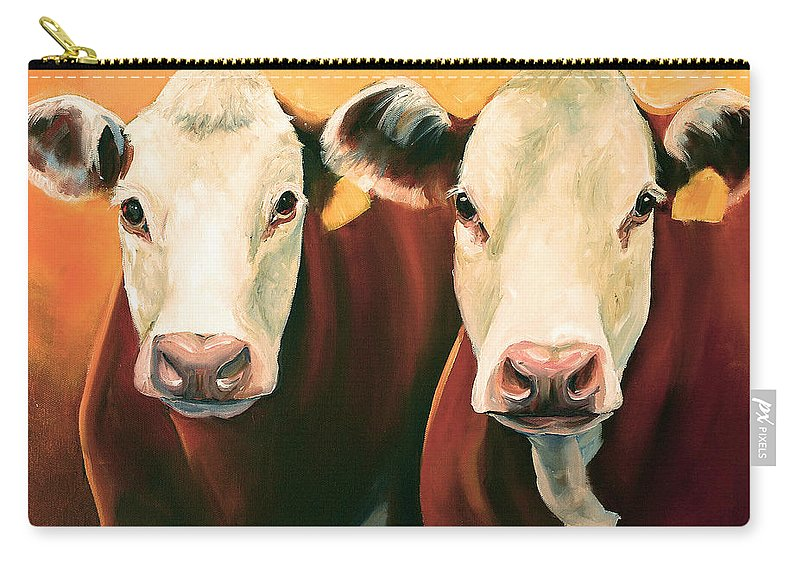 Cows Carry-all Pouch featuring the painting Herefords by Toni Grote