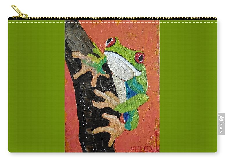 Frog Carry-all Pouch featuring the painting Here's Lookin At You by Scott Velez