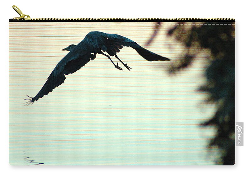 Clay Carry-all Pouch featuring the photograph Heron At Dusk by Clayton Bruster