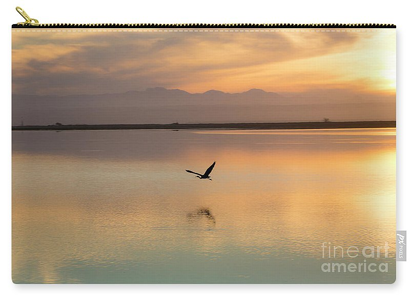 Heron Carry-all Pouch featuring the photograph Heron at sunset by Sheila Smart Fine Art Photography