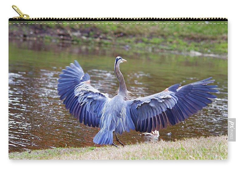 Blue Heron Carry-all Pouch featuring the photograph Heron Bank Landing by Deborah Benoit