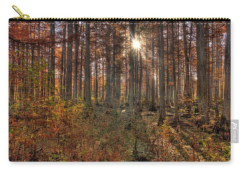 Illinois Carry-all Pouch featuring the photograph Heron Pond Cypress Trees by Steve Gadomski
