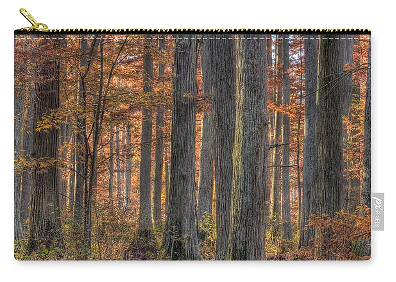 Cypress Carry-all Pouch featuring the photograph Heron Pond Dawn by Steve Gadomski
