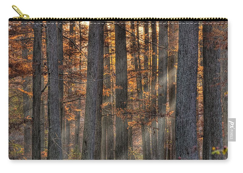 Illinois Carry-all Pouch featuring the photograph Heron Pond Morning Mist by Steve Gadomski