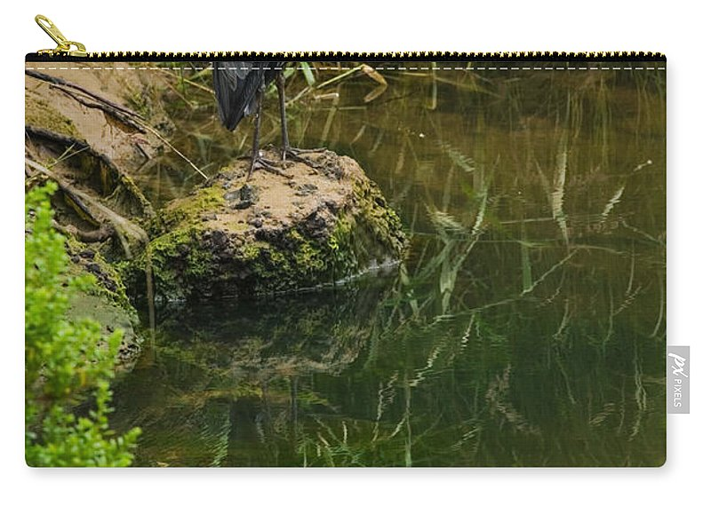 Great Blue Heron Carry-all Pouch featuring the photograph Heron Reflection by Randall Ingalls
