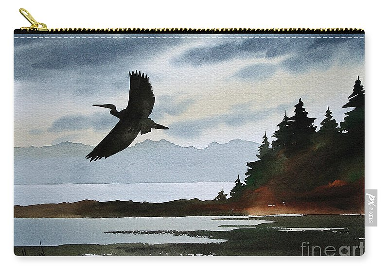 Heron Carry-all Pouch featuring the painting Heron Silhouette by James Williamson