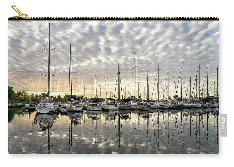 Georgia Mizuleva Carry-all Pouch featuring the photograph Herringbone Sky Patterns With Yachts And Boats by Georgia Mizuleva