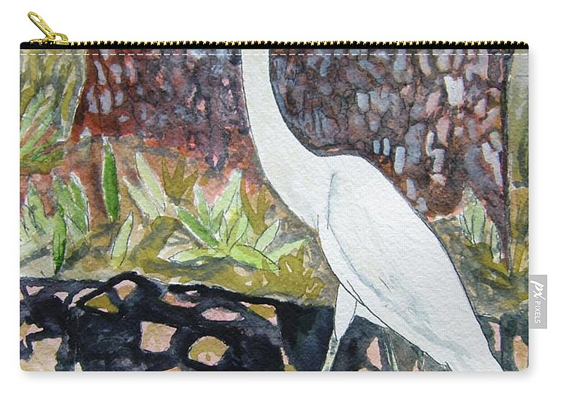 Bird Carry-all Pouch featuring the painting Herron by Derek Mccrea