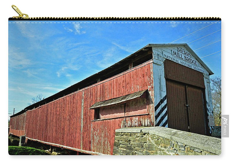 Covered Bridge Carry-all Pouch featuring the photograph Herrs Mill Bridge by David Arment