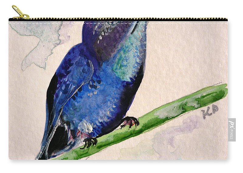 Hummingbird Painting Bird Painting Tropical Caribbean Painting Watercolor Painting Carry-all Pouch featuring the painting hHUMMINGBIRD 2  by Karin Dawn Kelshall- Best