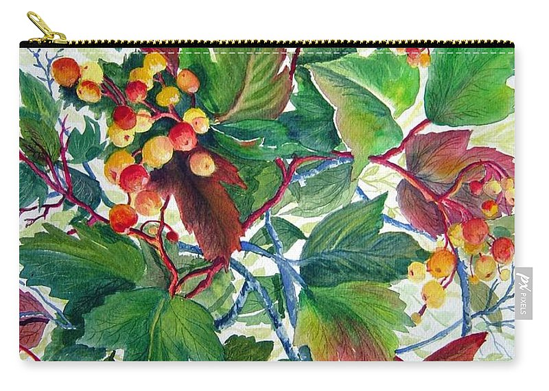 Hi Bush Cranberries Carry-all Pouch featuring the painting Hi-bush Cranberries by Joanne Smoley