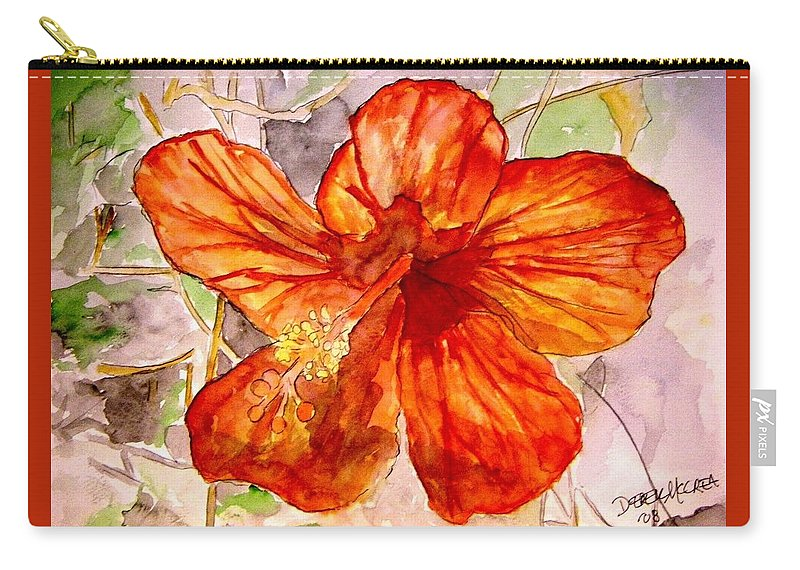 Hibiscus Carry-all Pouch featuring the painting Hibiscus 2 by Derek Mccrea