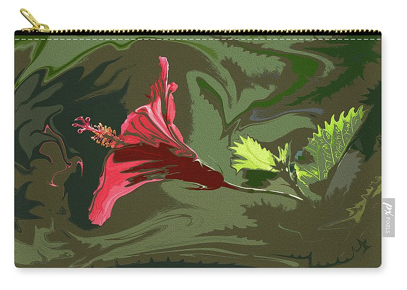Linda Brody Carry-all Pouch featuring the photograph Hibiscus Dark And Light Photopainting 1 by Linda Brody