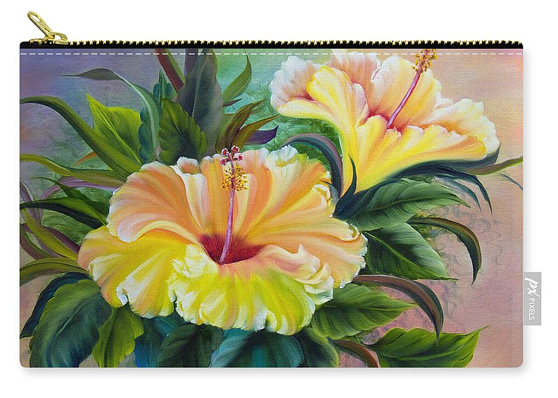 Hibiscus Carry-all Pouch featuring the painting Hibiscus by Dee Carpenter