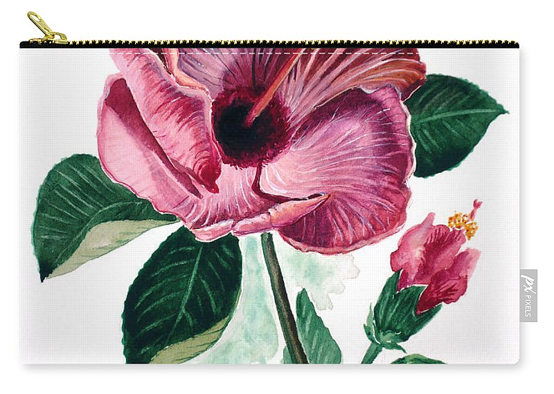 Flora Painting L Hibiscus Painting Pink Flower Painting Greeting Card Painting Carry-all Pouch featuring the painting Hibiscus Dusky Rose by Karin Dawn Kelshall- Best