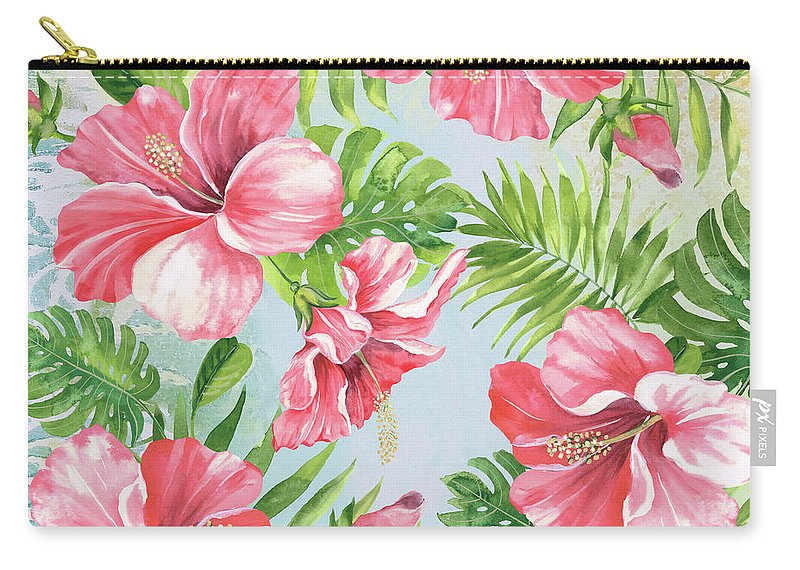 Hibiscus Carry-all Pouch featuring the painting Hibiscus Paradise-jp3965 by Jean Plout