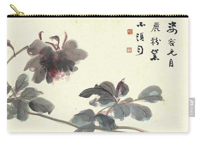 Hibiscus Carry-all Pouch featuring the painting Hibiscus by Zhang Daqian