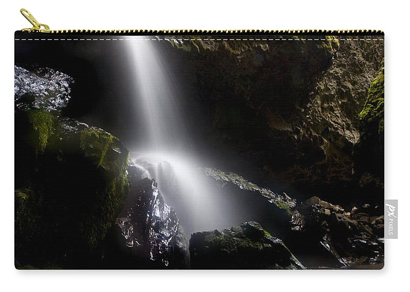 Waterfall Carry-all Pouch featuring the photograph Hidden Falls by Mike Dawson