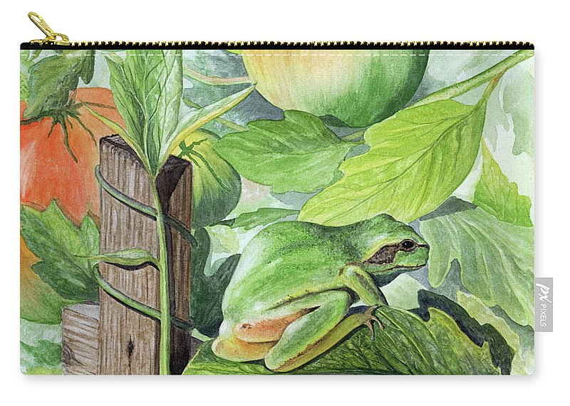 Frog Carry-all Pouch featuring the painting Hidden II by Mary Tuomi
