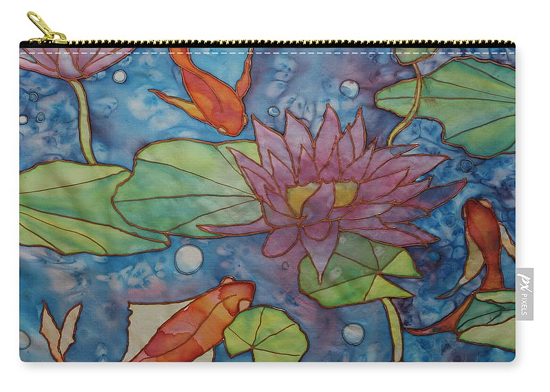 Gold Fish Carry-all Pouch featuring the painting Hide And Seek by Ruth Kamenev