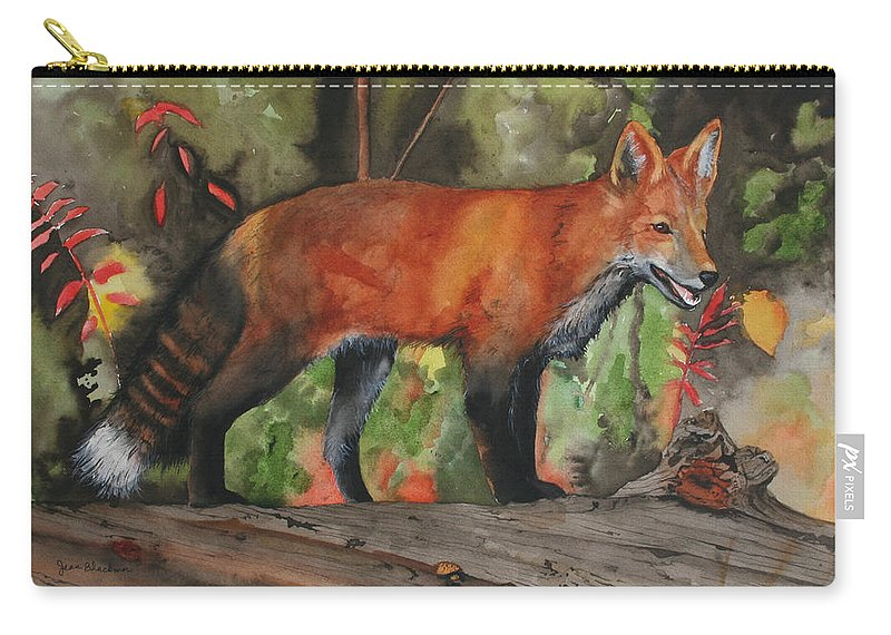 Fox Carry-all Pouch featuring the painting Hiding In Plain Sight by Jean Blackmer