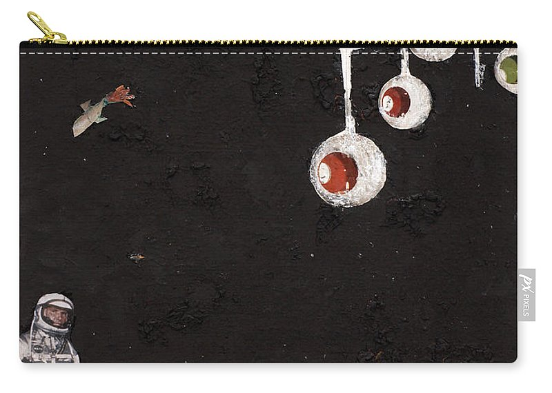 Spaceman Carry-all Pouch featuring the mixed media High Above Him There by Jaime Becker