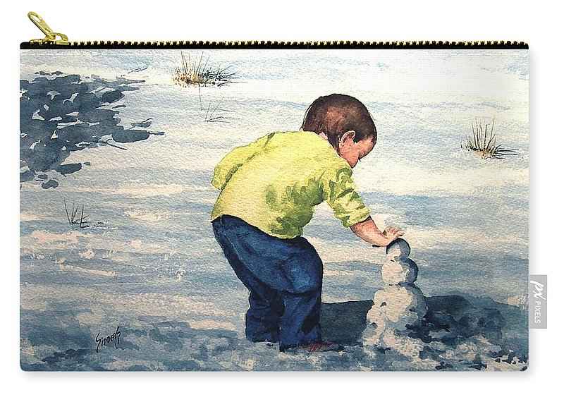 Child Carry-all Pouch featuring the painting High Country Snow Girl by Sam Sidders