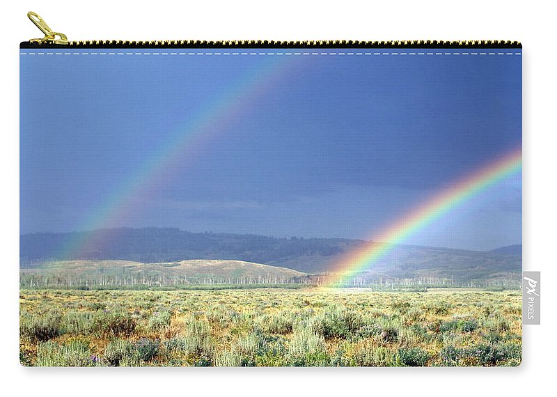 Rainbow Carry-all Pouch featuring the photograph High Dessert Rainbow by Marty Koch