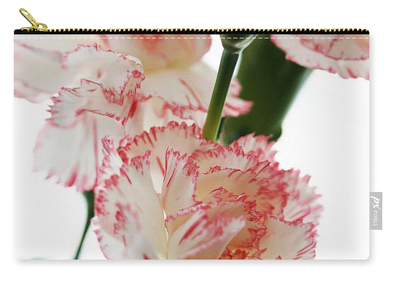 High Carry-all Pouch featuring the photograph High Key Pink And White Carnation Floral by Kathy Clark