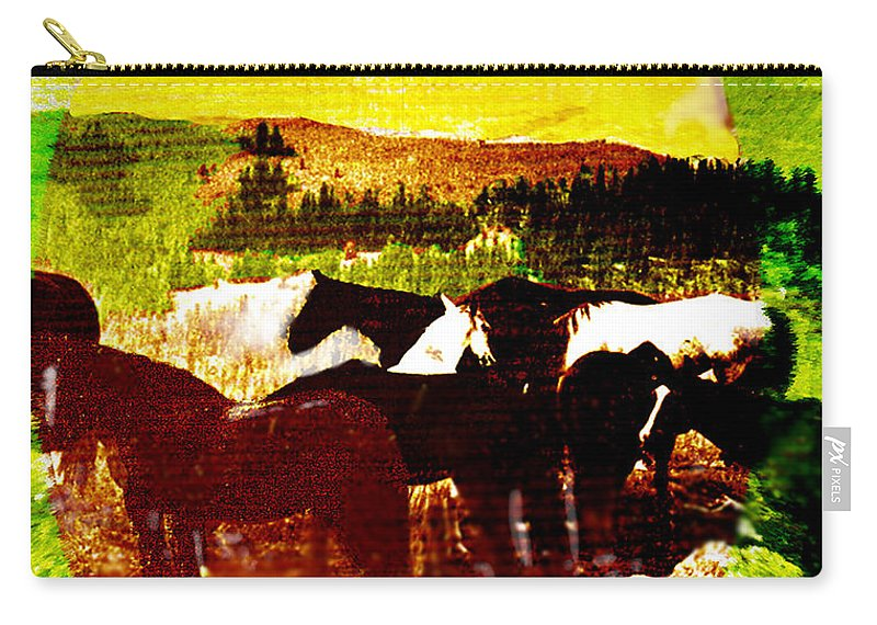 Mustangs Carry-all Pouch featuring the digital art High Plains Horses by Seth Weaver