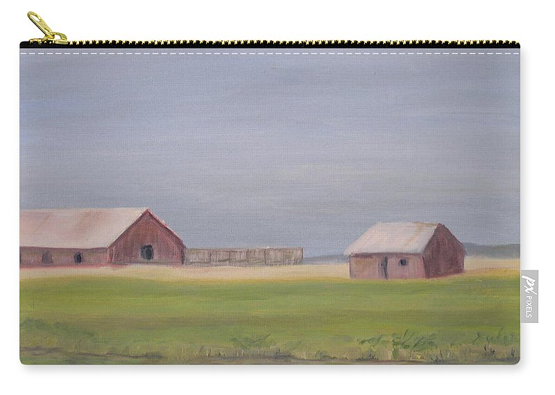 Landscape Plains Barn Carry-all Pouch featuring the painting High Plains by Patricia Caldwell