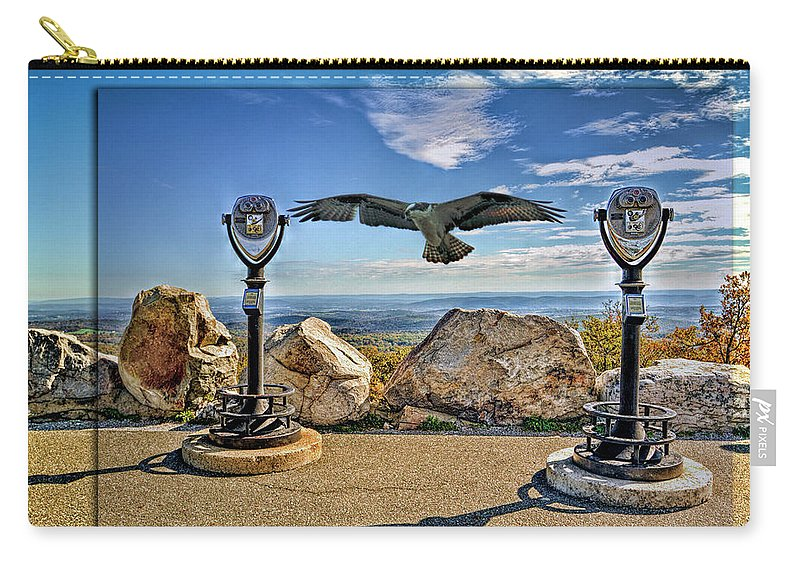 Recent Carry-all Pouch featuring the photograph High Point Nj And Osprey Double Exposure by Geraldine Scull