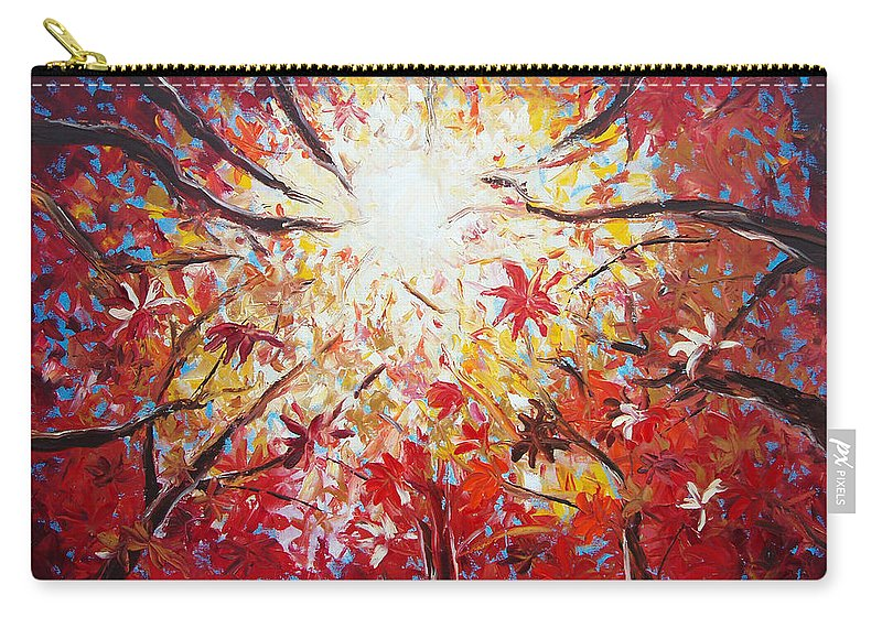 Red Carry-all Pouch featuring the painting High Red by Gina De Gorna