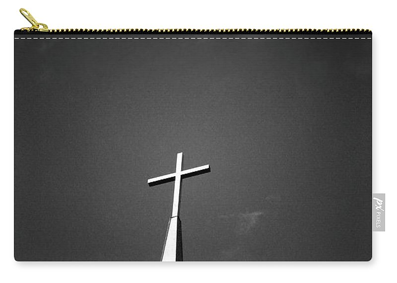 Church Carry-all Pouch featuring the photograph Higher To Heaven - Black And White Photography By Linda Woods by Linda Woods