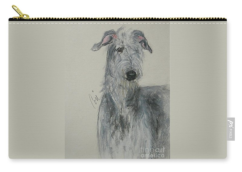 Scottish Deerhound Carry-all Pouch featuring the drawing Highland Hunter by Cori Solomon