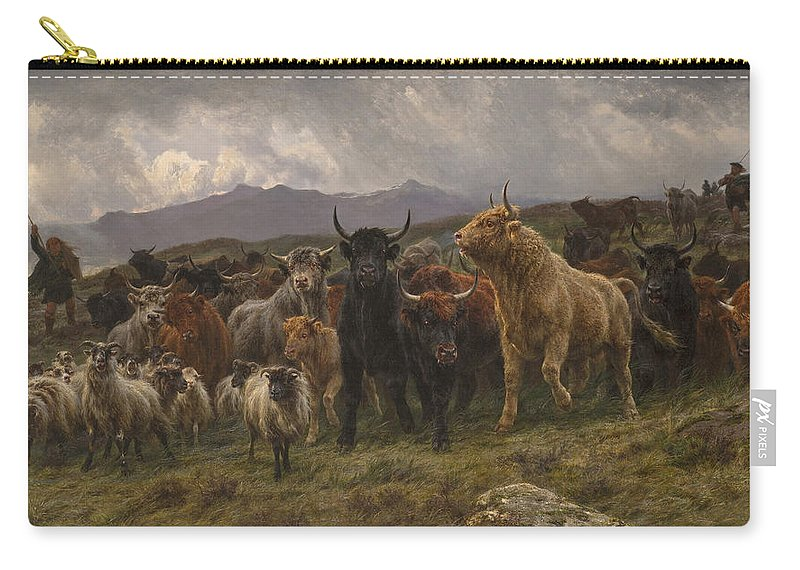 Rosa Bonheur Carry-all Pouch featuring the painting Highland Raid by Rosa Bonheur