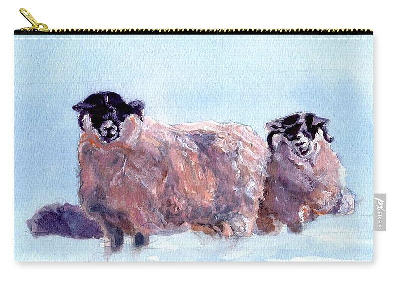 Scotland Carry-all Pouch featuring the painting Highland Sheep by Sheila Wedegis