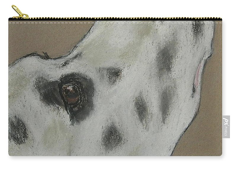 Dalmatian Carry-all Pouch featuring the drawing Highly Motivated by Cori Solomon