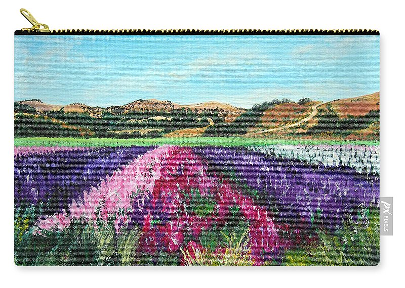Highway 246 Carry-all Pouch featuring the painting Highway 246 Flowers 3 by Angie Hamlin